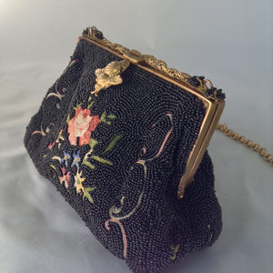 1930's French Black Hand-Beaded Evening Purse With Multi-Colored Hand-Embroidered Flowers