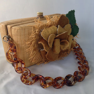 "Vintage Straw & Raffia Box Bag with tortoise link handle, handmade flower and pristine silk lining? Ours is a 1950's original. His is from the Oscar de la Renta's Spring collection. His is $2000. Ours is a little less.  Dimensions - Height 4.5""; Length 8.25""; Depth 4.25"""