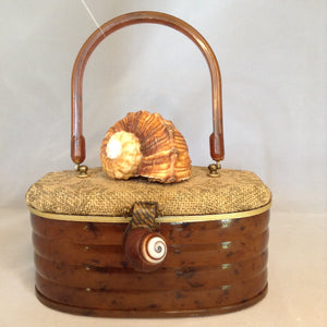 Vintage Brown Tortoise Lucite Oval Purse With Tan Burlap On Top Adorned With A Large Brown And White Spiraled Shell. Smaller Spiraled Shell On Clasp And Brown Tortoise Lucite Handle