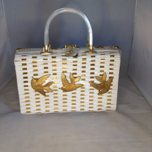 "Vintage White Shiny British Hong Kong Straw Purse With Golden Metal Weaving, Golden Birds and Bees. White Pearl Lucite Handles. Dimensions - Height 8.5""; Width 11.5""; Depth 3.5""; Handles 4"""