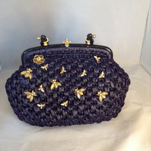 "Vintage Navy Straw Purse With Golden Birds, Bees And Flowers And Original Golden Brass Hardware. Dimensions - Height 7.5""; Length 11.5""; Depth 5""; Handle 3.75"""
