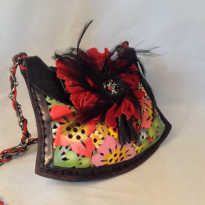 "Vintage Black Leather Argentinian Crossbody Purse With Multi-Colored Flowers Cut Into The Leather. Tiny Black Tassels, Red Suede Peony With Black Feathers And Silver Robin Redbreast Adorn Front Flap. Dimensions - Height 5.5""; Width 9.75""; Depth 1.75""; Strap 24"""