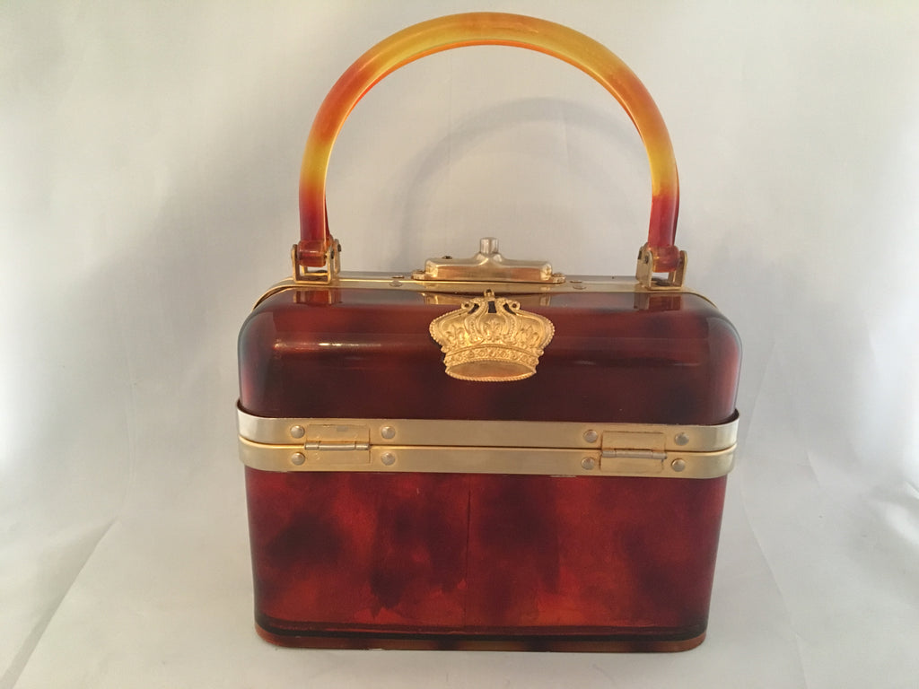 "Lucite box shape vintage purse with beautiful original hardware and leather lining. French, circa 1940.  Dimensions - Height 8""; Length 6""; Width 4"""