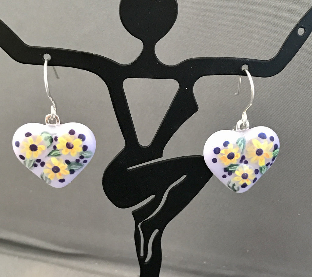 Lavender and Daisies Heart Earrings