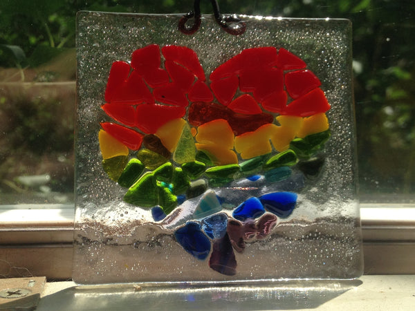 Rainbow heart sun catcher