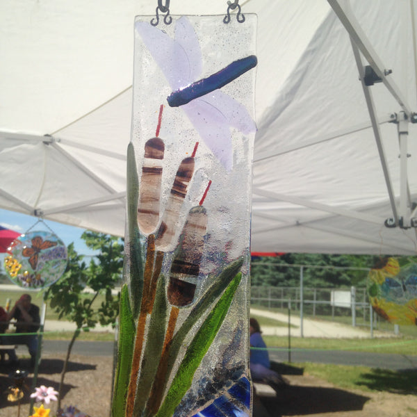 Dragonfly and Cattail Sun Catcher