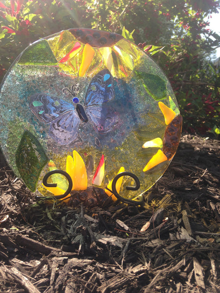 "8"" butterfly and sunflower sun catcher"