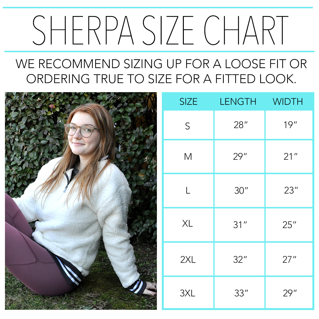 Slouchy Pullover Size Chart