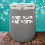 Good Mom Bad Mouth Hockey 12oz Stemless Wine Cup