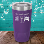I'm A Simple Woman Flip Flops Wine Jeep Laser Etched Tumbler