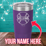 Custom Name Baseball Laser Etched Tumbler