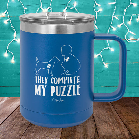 100% Donation - Autism They Complete My Puzzle Dog 15oz Coffee Mug Tumbler