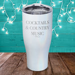 Cocktails And Country Music Laser Etched Tumbler