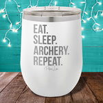 Eat Sleep Archery Repeat 12oz Stemless Wine Cup