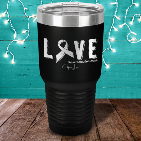 Love Ribbon Brain Cancer Laser Etched Tumbler