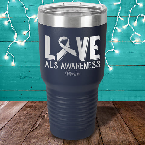 ALS Love Ribbon Laser Etched Tumbler