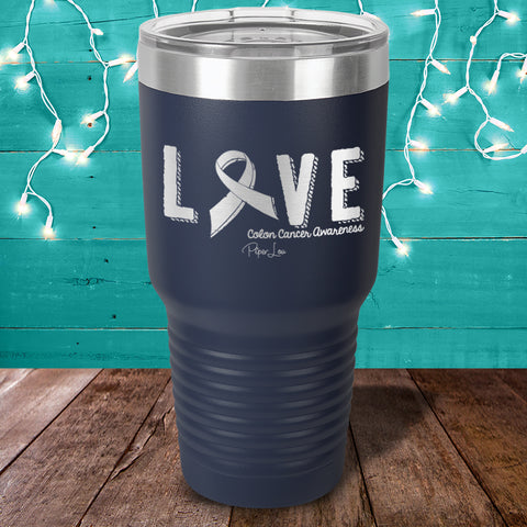 100% Donation - Colon Cancer Love Ribbon Laser Etched Tumbler