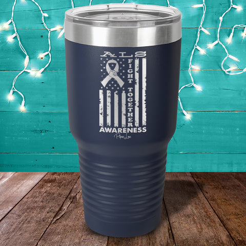 ALS Fight Together Blue Laser Etched Tumbler