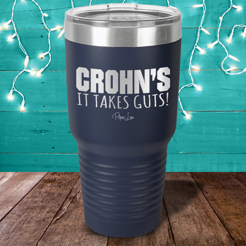 100% Donation - Crohn's It Takes Guts Laser Etched Tumbler