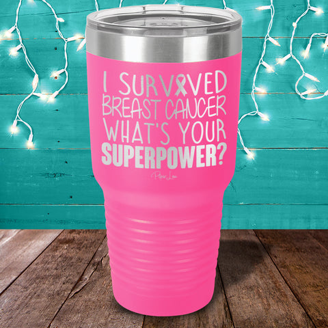 100% Donation - I Survived Breast Cancer Laser Etched Tumbler