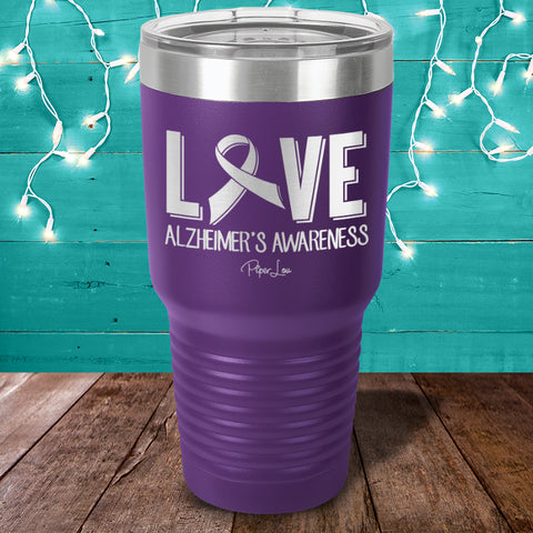 100% Donation - Alzheimer's Love Ribbon Laser Etched Tumbler