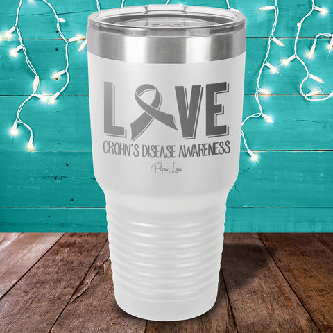 100% Donation - Crohn's Love Ribbon Laser Etched Tumbler