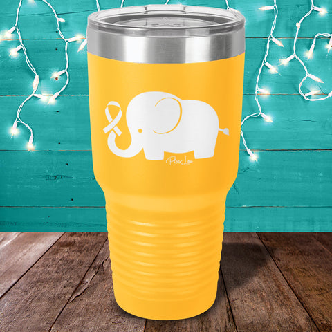 Childhood Cancer Elephant Ribbon Laser Etched Tumbler