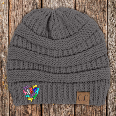 Cancer Ribbons Heart Beanie
