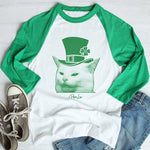 $17.99 SPECIAL -  Cat Being Yelled At St. Patrick's Raglan (Unisex)