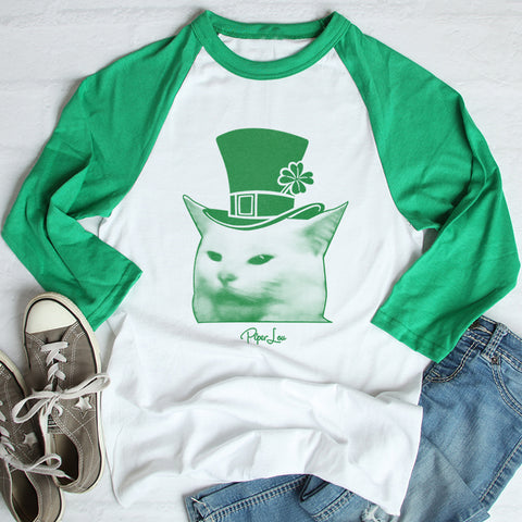 Cat Being Yelled At St. Patrick's Raglan (Unisex)