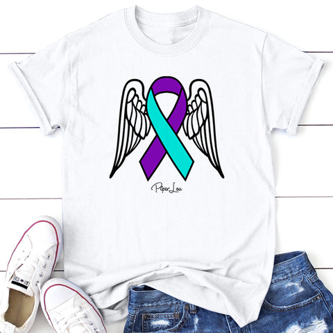 100% Donation - Suicide Awareness - Angel Wings Ribbon Apparel