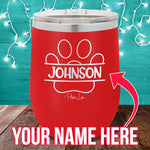 (CUSTOM) Name Paw Print 12oz Stemless Wine Cup