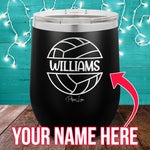(CUSTOM) Name Volleyball 12oz Stemless Wine Cup