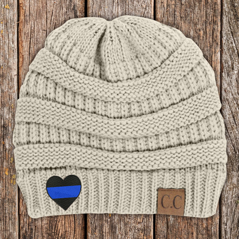 Blue Line Heart C.C Thick Knit Soft Beanie