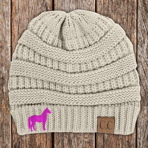 Horse C.C Thick Knit Soft Beanie