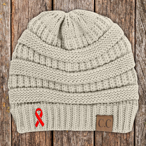 100% Donation - Heart Disease Awareness Ribbon Beanie