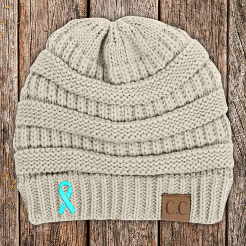 100% Donation - Cervical Cancer Awareness Ribbon Beanie