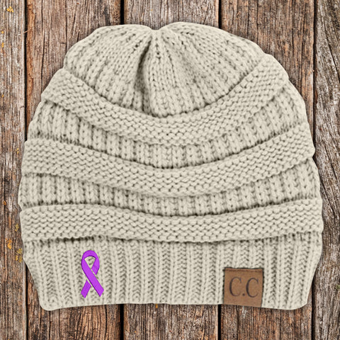 100% Donation - Cystic Fibrosis Awareness Ribbon Beanie