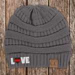 Love Red Line Heart C.C Thick Knit Soft Beanie