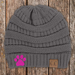 Dog Paw Print C.C Thick Knit Soft Beanie