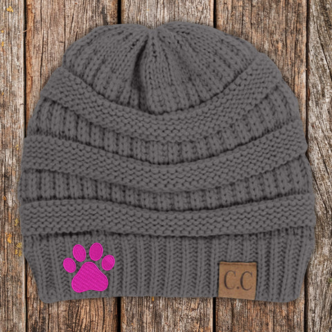 $10 Tuesday - Dog Paw Print C.C Thick Knit Soft Beanie