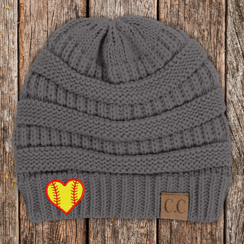 Softball Heart C.C Thick Knit Soft Beanie