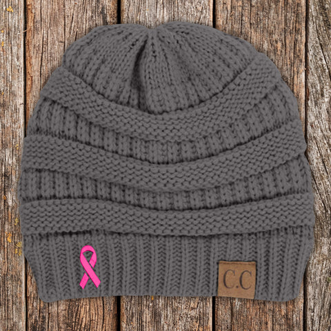 100% Donation - Breast Cancer Ribbon Beanie