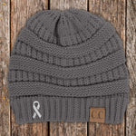 100% Donation - Lung Cancer Awareness Ribbon Beanie