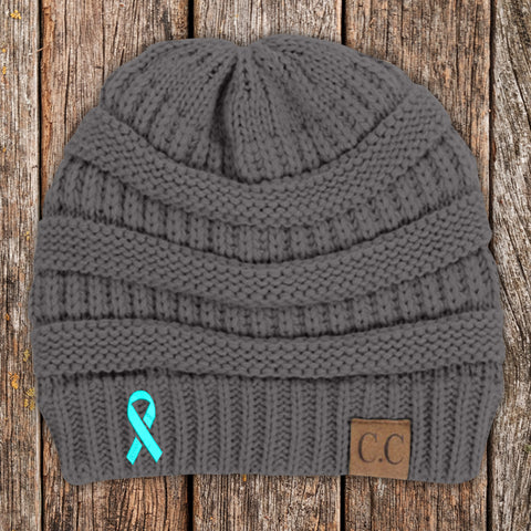 Ovarian Cancer Awareness Ribbon Beanie