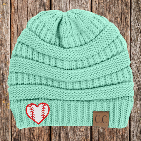 Baseball Heart C.C Thick Knit Soft Beanie