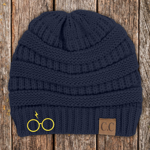 Potter Glasses C.C Thick Knit Soft Beanie