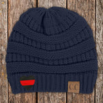 Red Line Heart C.C Thick Knit Soft Beanie