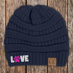 Love Paw Print C.C Thick Knit Soft Beanie
