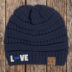 Love Blue Line Heart C.C Thick Knit Soft Beanie